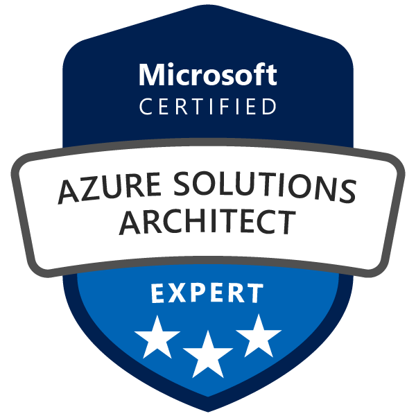 Certified as Azure Solutions Architect